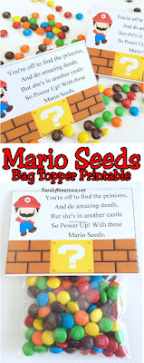 Help Mario save the princess by Powering Up with these Mario Bag Toppers.  This free printable is perfect for a birthday party favor or party treat at your next Arcade game party, 80s party, or any retro birthday party with Mario and his friends.  Get the free printable now!