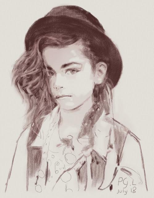 Монохромный цифровой скетч: девочка в шляпе (цвет сепии)
