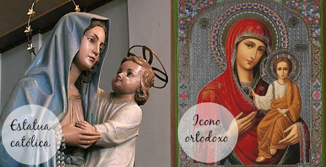 Estatua católica e icono ortodoxo