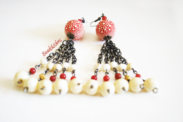 Beads and wires red earrings