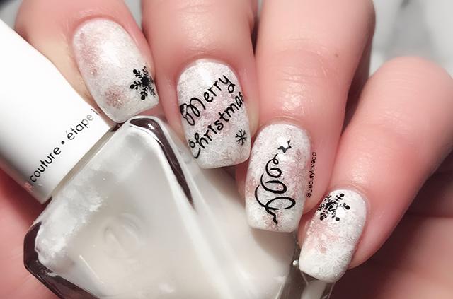 12 Nails Of Christmas Contemporary Black White Rose Gold Nail