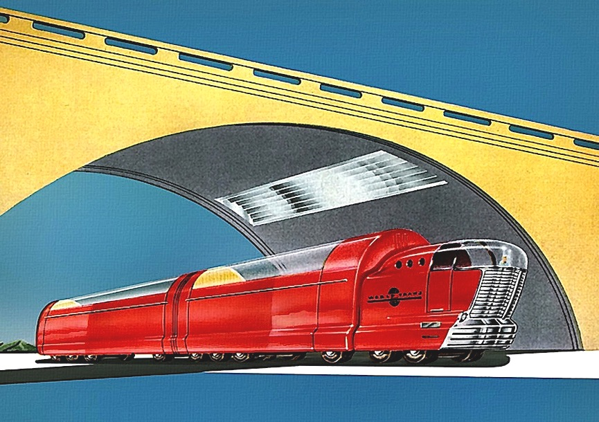 a color Arthur Radebaugh illustration of a red truck under a future bridge
