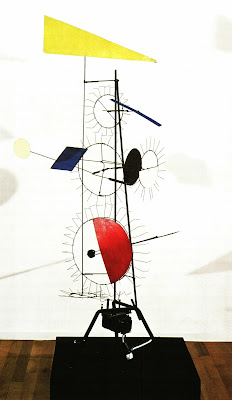 Jean Tinguely, Meta-Herbin 'Taxi', 1955, Iron support, metal rods and wire, 10 differently coloured metal elements, electric motor 220V, 148 x 50 x 50cm