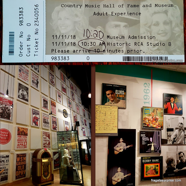 Ingresso para o Country Music Hall of Fame e Studio B RCA, em Nashville
