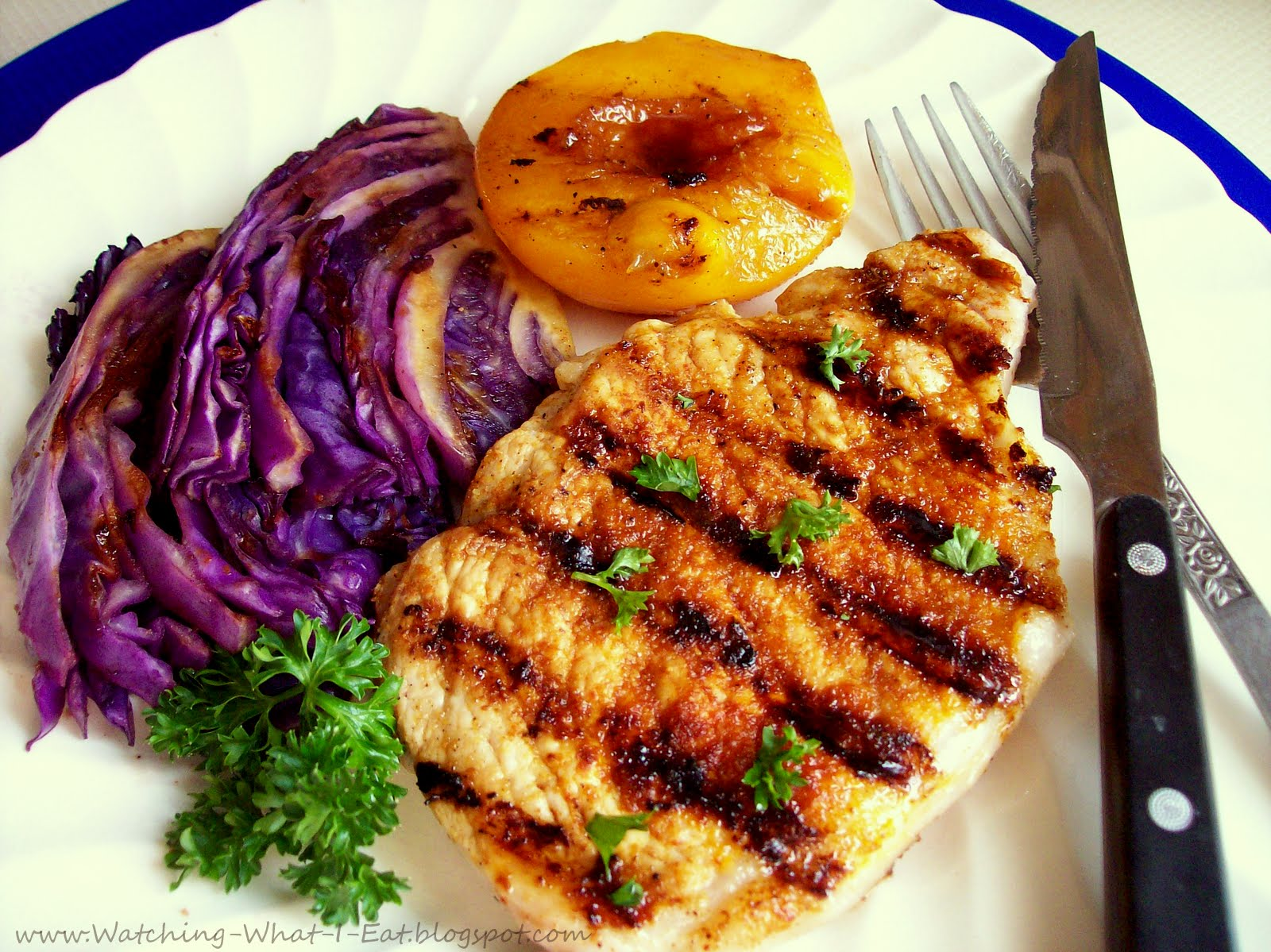 Watching What I Eat Grilled Pork Chops Peaches Cabbage Loving My George Foreman Grill