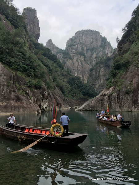 tourist boat crossing river in Shizhiyan Cliff Scenic Spot in Zhejiang Province, Wenzhou, China