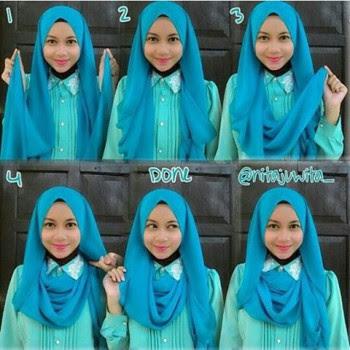 Cara memakai jilbab pashmina sifon cantik