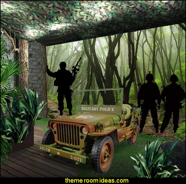 army jungle man cave  Army bedroom ideas - Army Room Decor - army bedroom accessories - Military bedrooms camouflage decorating - Marines decor boys army rooms - camo themed rooms - Military Soldier - Uncle Sam Military home decor - Airforce Rooms - military aircraft bedroom decorating ideas - boys army bedroom ideas - Navy themed decorating - girls camo decor - army jungle man cave