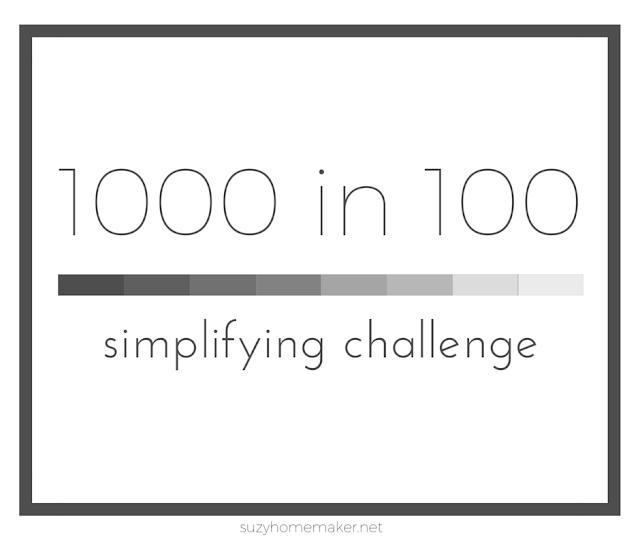 1000 in 100 simplifying challenge | suzyhomemaker.net