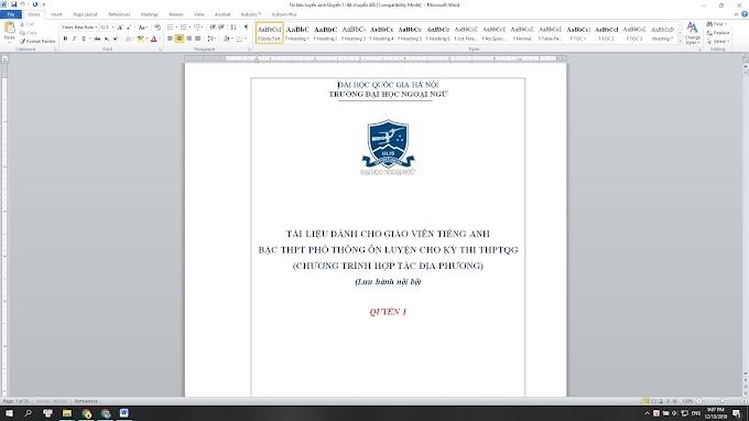 Tài liệu luyện thi THPTQG của ĐHNN Quyển 1+2 bản word