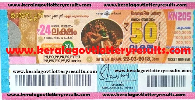 karunya plus kerala lottery results kn 205 22nd march 2018