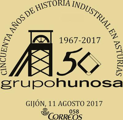 Matasellos del 50 aniversario de Hunosa en Gijón