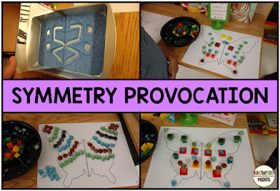 Symmetry provocations in first grade.  A great idea for symmetry centers!