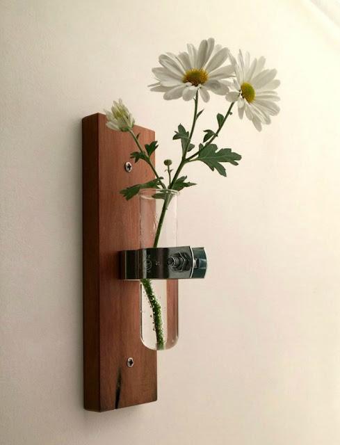 Test Tube Vase Modern Recycled Wood