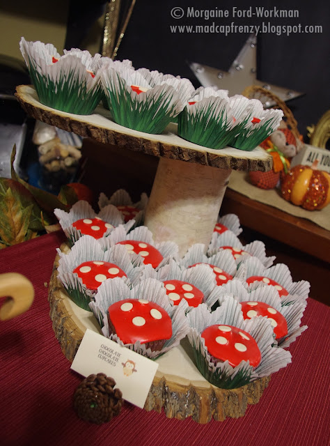 Woodland Creature Baby Shower food mushroom cupcakes