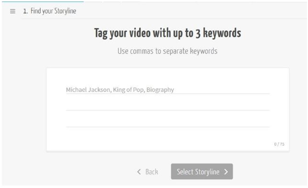 adding keywords in video using mysimpleshow