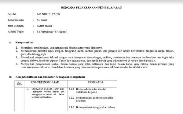 RPP Bahasa Jawa Kelas 12 Kurikulum 2013 Revisi 2019