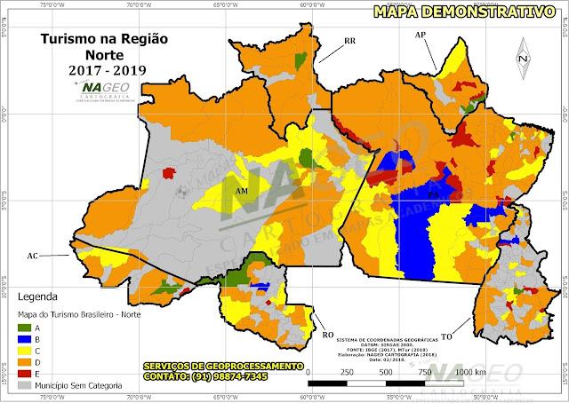 Mapa do Turismo Brasileiro - Reião Norte NAGEO Cartografia (2018).