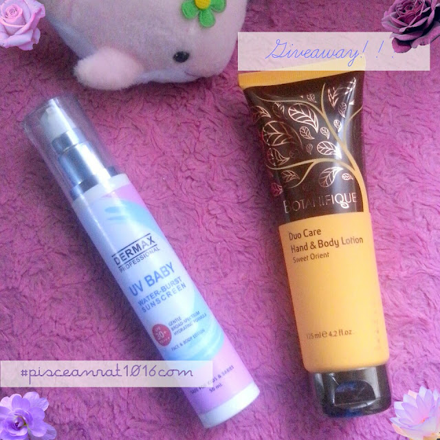Botanifique lotion is about Php 1, 600 and the Dermax Water-Burst Sunscreen is Php 720, pisceanrat contest,