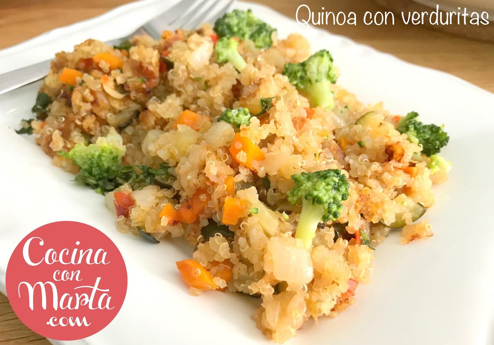 quinoa salteada con verduras, recetas con quinoa, recetas sanas, dieta, receta rápida, fácil, cocina con marta