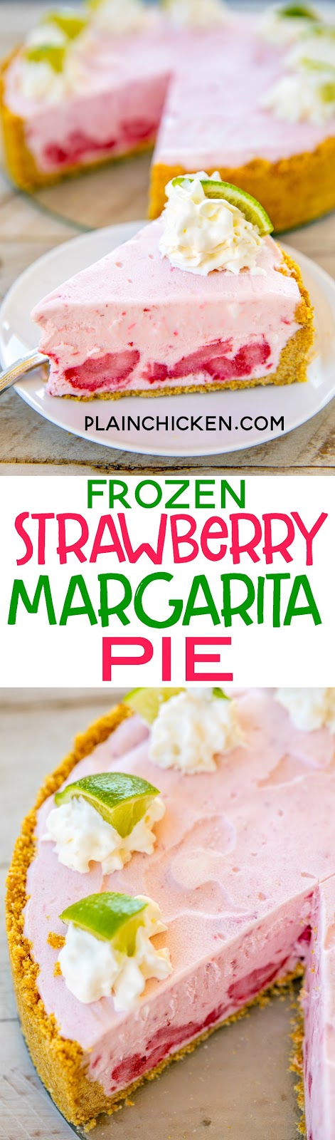 Frozen Strawberry Margarita Pie - seriously delicious!!! No-bake! Graham cracker crumbs, sugar, butter, sweetened condensed milk, margarita mix, frozen strawberries and whipped cream. Ready to freeze in about 5 minutes. SO easy and SOO good! Great way to beat the heat this summer! #dessert #nobake #frozendessert #margarita
