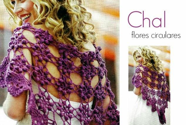 Chal Crochet Motivos Punto Palomita