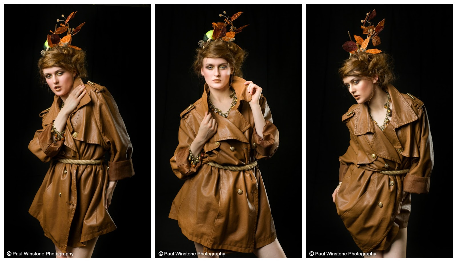 Mystic Magic, styling, high fashion, edgy fashion, autumn fashion, autumn, autumnal, leahter coat, headpiece, creative styling, studio photography,