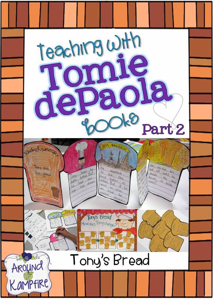 This teacher shares lots of creative ideas and activities for teaching reading comprehension, author's viewpoint and story structure, as well as ideas for anchor charts when teaching with The Art Lesson and Tony's Bread by Tomie dePaola | Around the Kampfire blog