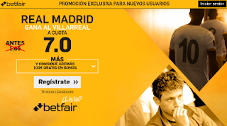 betfair supercuota 7 Real Madrid gana Villarreal Liga 26 febrero