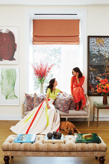 Patricia Herrera Lansing living room with her sister of New York city apartment via belle vivir blog