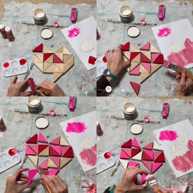 painting triangle wooden heart pieces