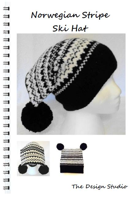 Norwegian Stripe Ski Hat Designer Hand Knitting Pattern