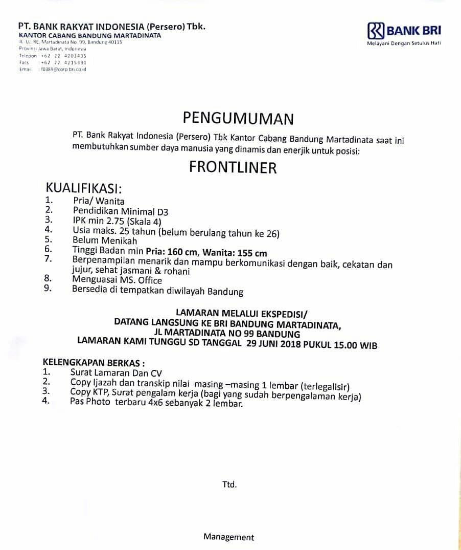 Loker Bank Bri Bandung Lulusan Sma Smk D3 S1 Terupdate 2020 Lowongankerjacareer Com