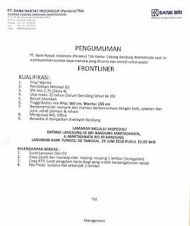 Karir Lowongan Kerja Bank BRI Bandung Terbaru 2018