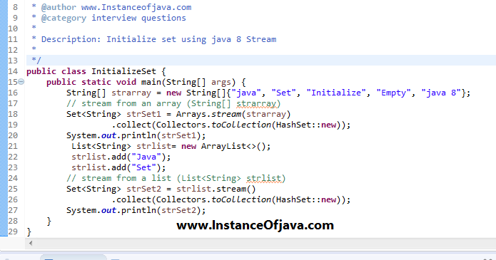 Java 8 initialize set with values with an example program ...