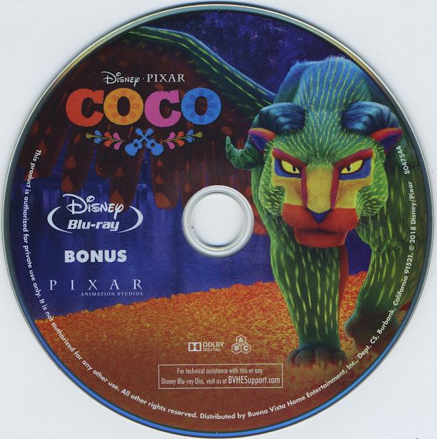 Coco Bonus Bluray Label