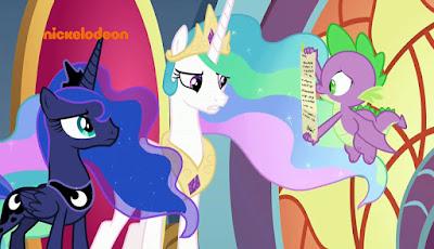 Luna and Celestia read a scroll held by Spike