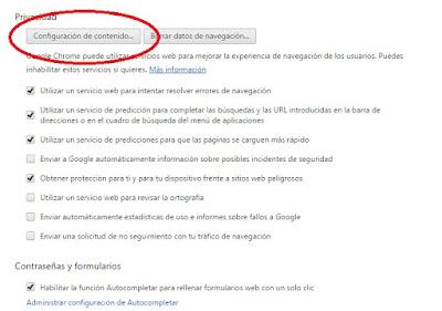 Configuración de contenido de Google Chrome