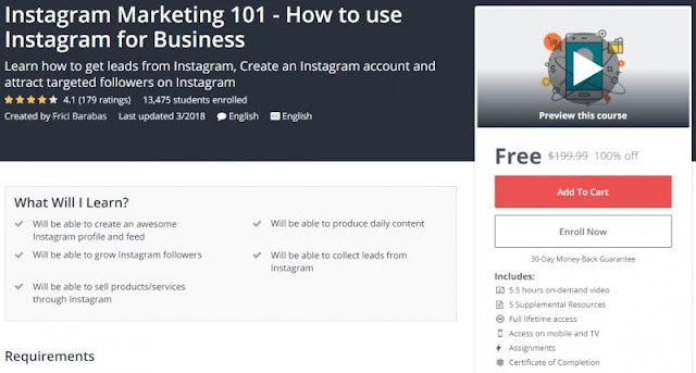[100% Off] Instagram Marketing 101 - How to use Instagram for Business| Worth 199,99$