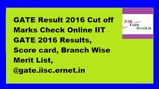 GATE Result 2016 Cut off Marks Check Online IIT GATE 2016 Results, Score card, Branch Wise Merit List, @gate.iisc.ernet.in