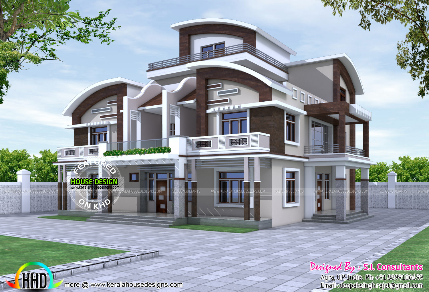 North indian style decorative house kerala home design for House designs indian style