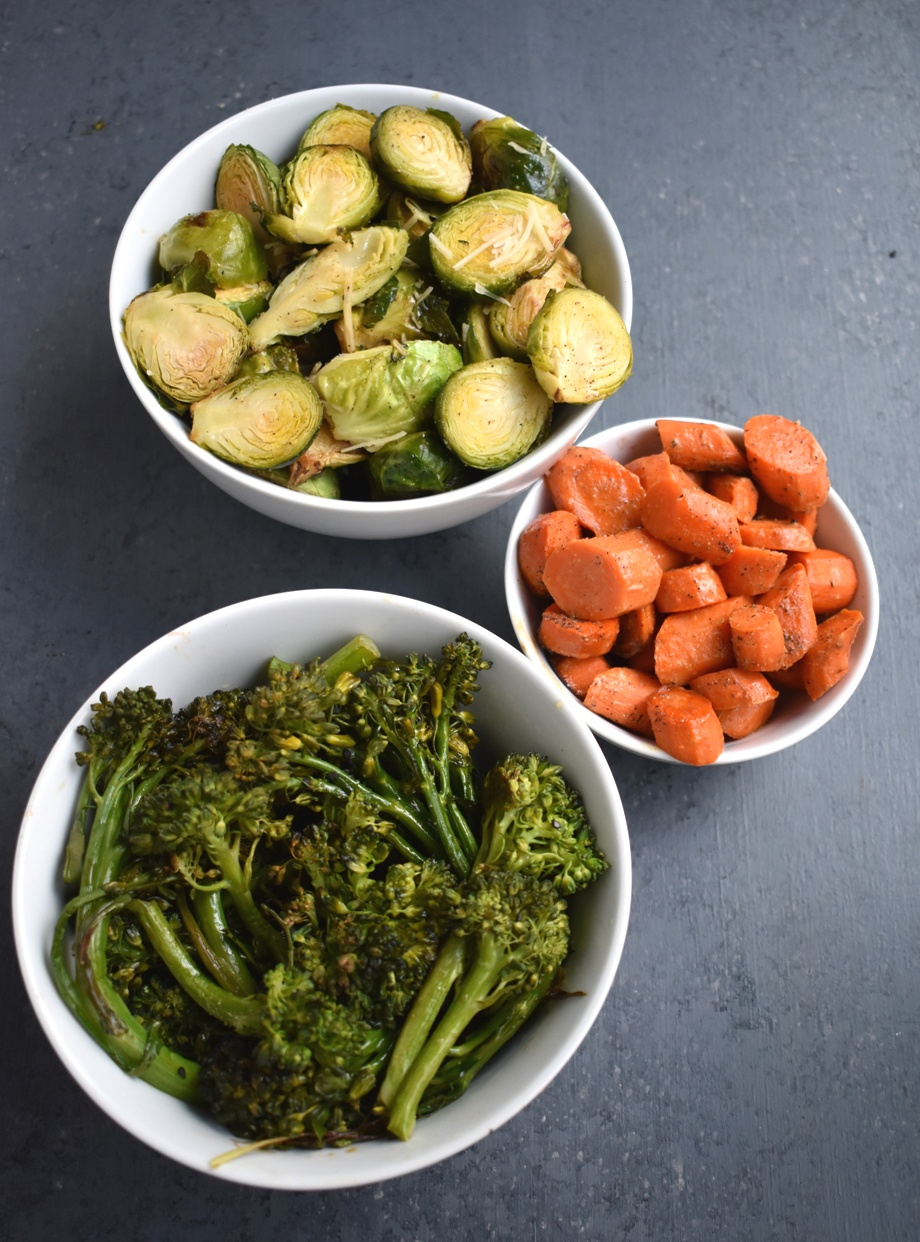 3 Easy Vegetable Side Dishes are perfect when you need a quick healthy side dish! These include Asian Roasted Broccoli, Dijon Roasted Carrots and Garlic, Lemon Parmesan Brussels Sprouts. www.nutritionistreviews.com #vegetable #vegetables #healthy #sidedish #holidays #thanksgiving #christmas