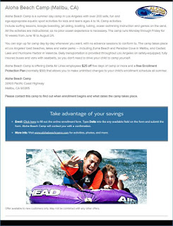 Flyer illustrating special discount at Aloha Beach Camp for Delta Airlines employees.Picture of a camper and counselor tubing at Aloha Beach Camp.