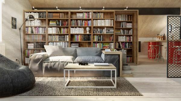 sala estante livros