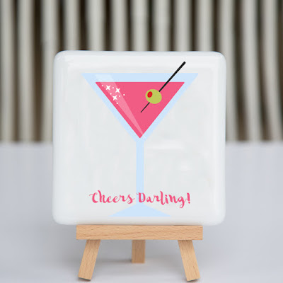 cheers darling, pink, martini, fused glass, coaster, sassy glass studio, creative entrepreneur