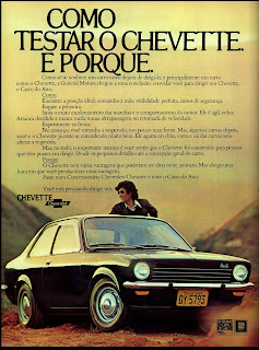 propaganda Chevrolet Chevette - 1974.  brazilian advertising cars in the 70. os anos 70. história da década de 70; Brazil in the 70s; propaganda carros anos 70; Oswaldo Hernandez;