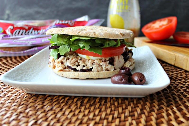 Renee's Kitchen Adventures:  Tuna Nicoise Sandwich with Sandwich Thins®  A great meatless diet friendly lunch or light dinner.  #tuna #sandwich #SandwichThins®
