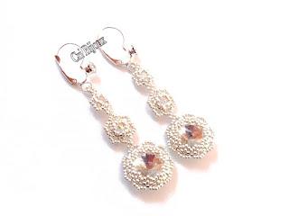 orecchini con strass handmade con perline