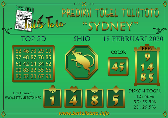 Prediksi Togel SYDNEY TULISTOTO 18 FEBRUARI 2020