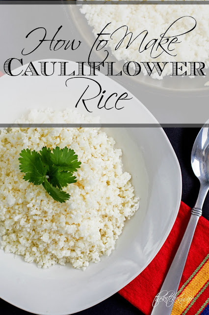 A white plate of cauliflower rice with the title above.